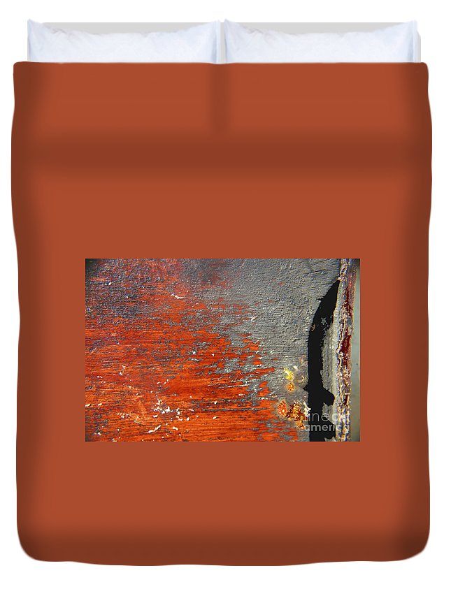 Red Duvet Cover featuring the photograph Red And Grey Abstract by Hana Shalom