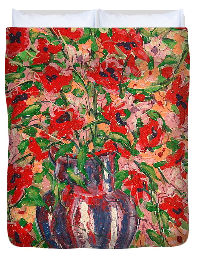 Flowers Duvet Cover featuring the painting Red And Pink Poppies. by Leonard Holland