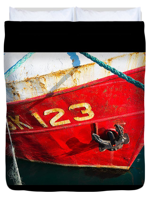 Ship Duvet Cover featuring the photograph Red And White Boat Detail by Matthias Hauser