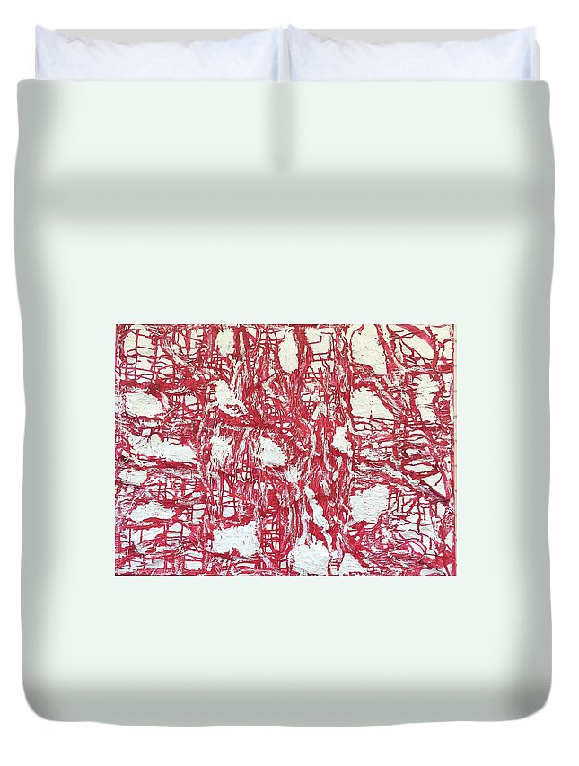 Abstract Duvet Cover featuring the painting Red And White by Moises Brador
