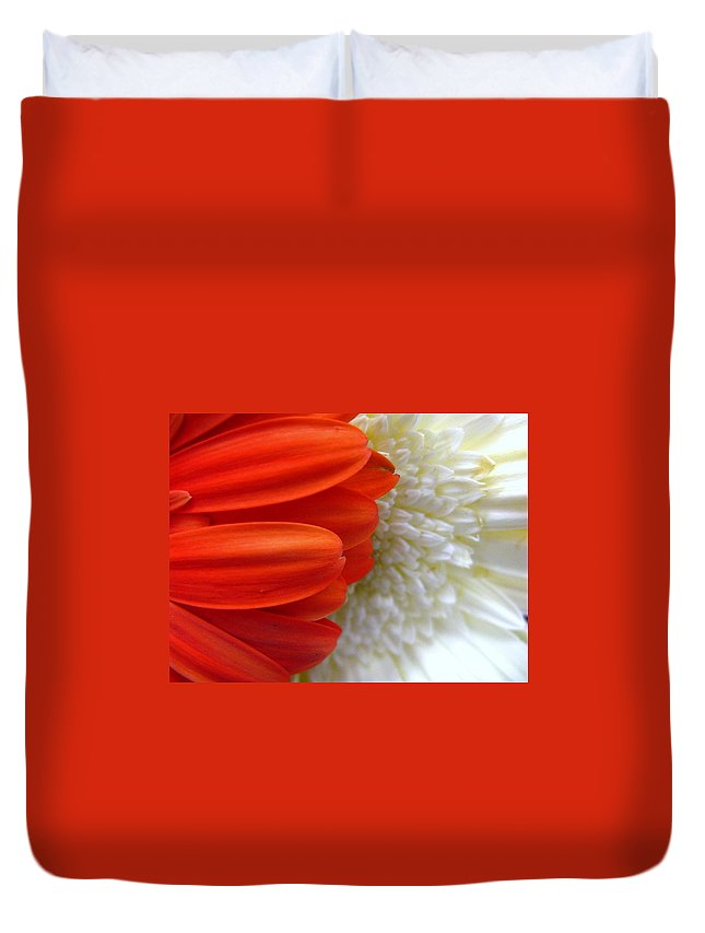 Flowers Duvet Cover featuring the photograph Red And White by Rhonda Barrett