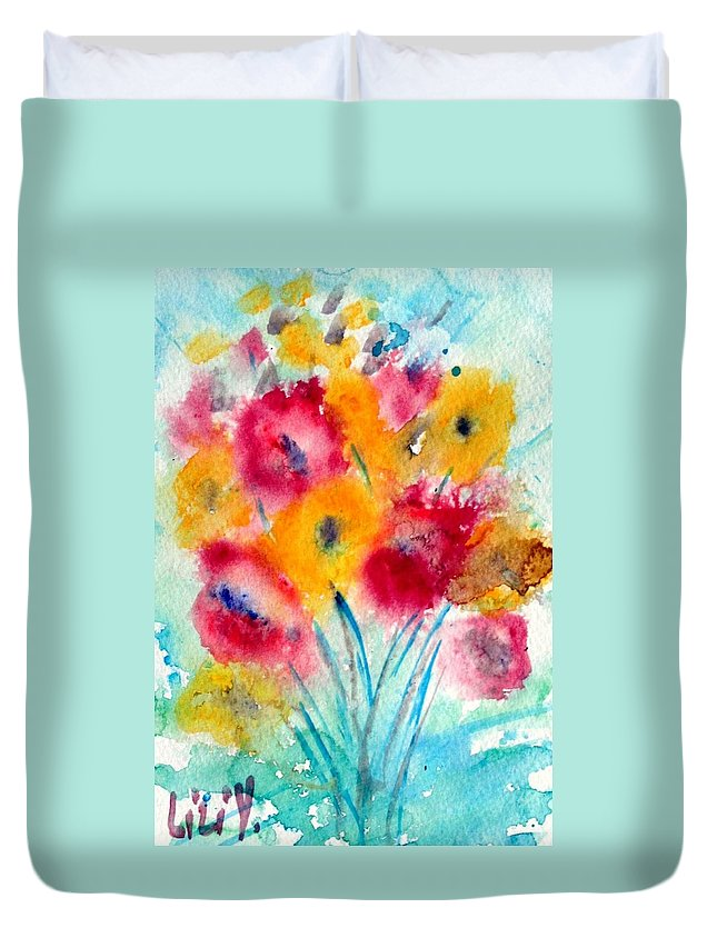 Flowers Duvet Cover featuring the painting Red And Yellow Flowers by Luiza Vizoli