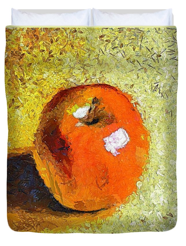 Red Apple Duvet Cover featuring the painting Red Apple by Dragica Micki Fortuna
