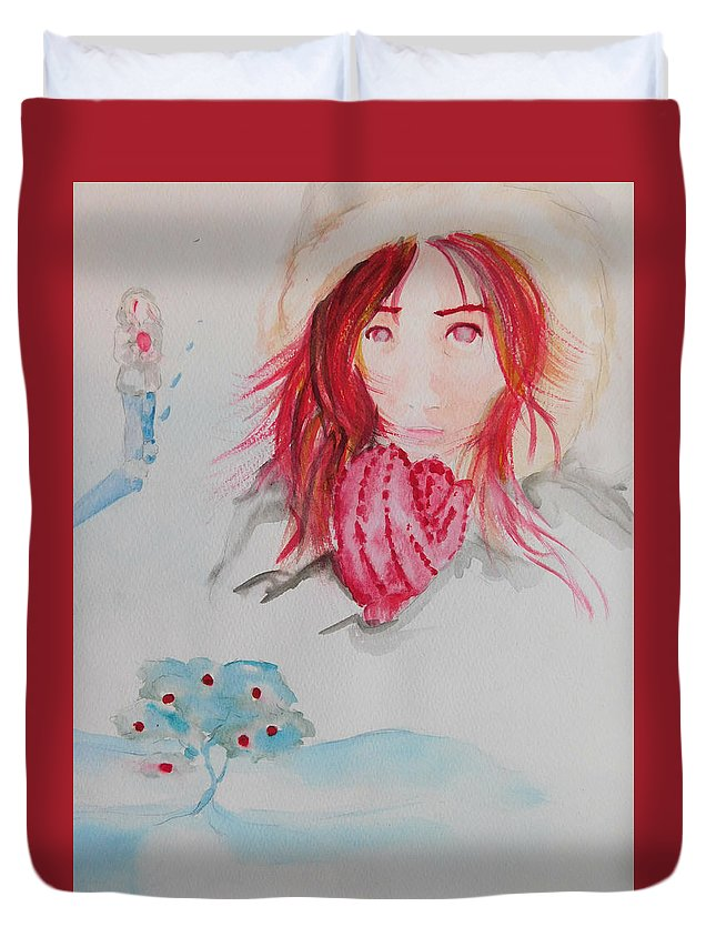 Winter Art Duvet Cover featuring the painting Red Apple Tree Winter Art by Evelyne Lalancette
