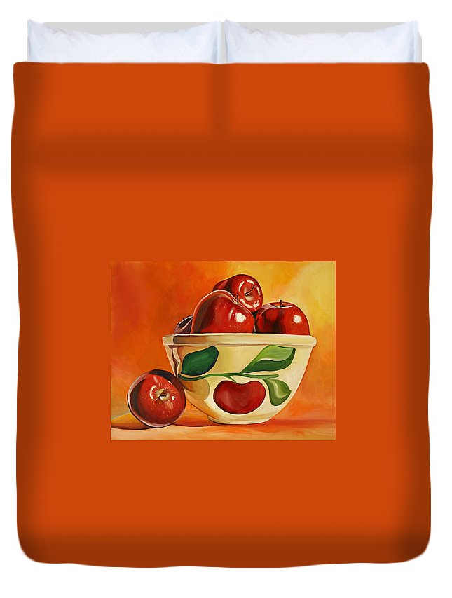 Apples Duvet Cover featuring the painting Red Apples In Vintage Watt Yellowware Bowl by Toni Grote