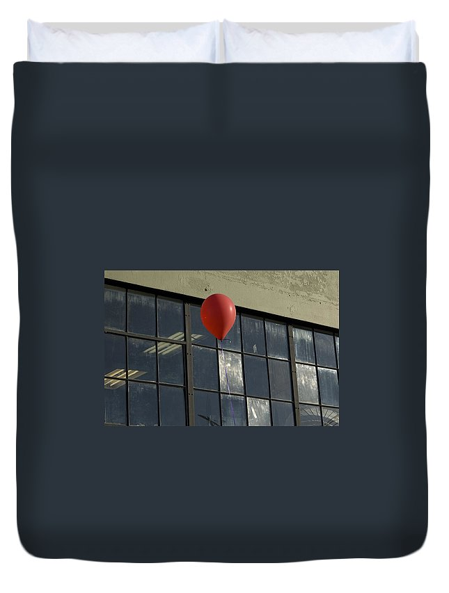 Windows Duvet Cover featuring the photograph Red Balloon by Sara Stevenson