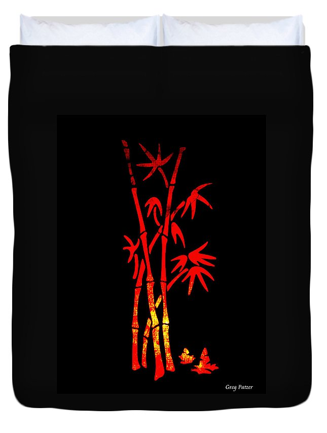 Patzer Duvet Cover featuring the photograph Red Bamboo by Greg Patzer