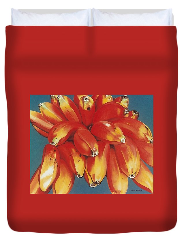 Hyperrealism Duvet Cover featuring the painting Red Bananas Of Jocotepec by Michael Earney