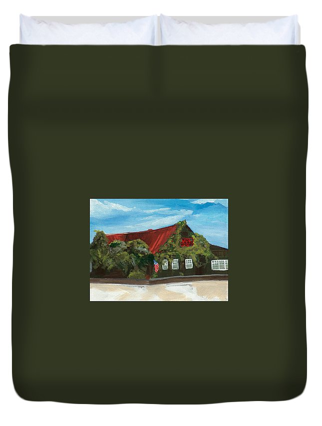 Red Bar Duvet Cover featuring the painting Red Bar - Blue Sky by Racquel Morgan