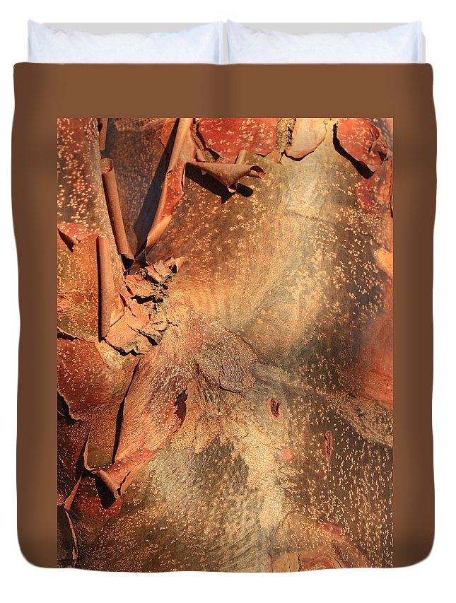 Nature Abstract Duvet Cover featuring the photograph Red Bark Nature Abstract by Carol Groenen