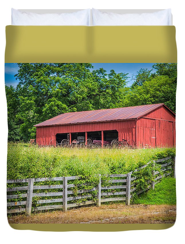Terri Morris Photography Duvet Cover featuring the photograph Red Barn Along The Fence by Terri Morris
