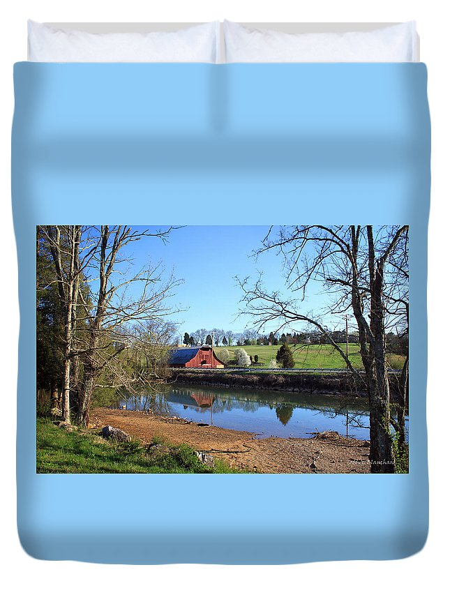 Landscape Duvet Cover featuring the photograph Red Barn And Pond by Todd Blanchard