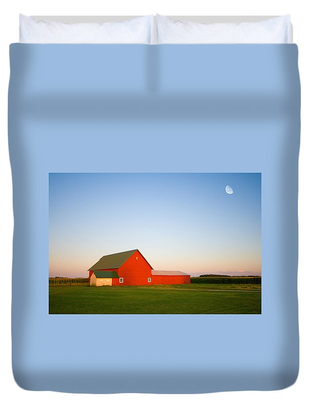 Country Duvet Cover featuring the photograph Red Barn And The Moon by Alexey Stiop