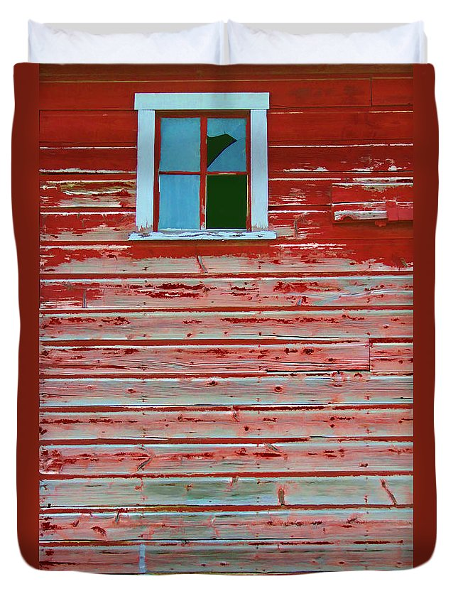 Barn Duvet Cover featuring the digital art Red Barn Broken Window by Randall Royter