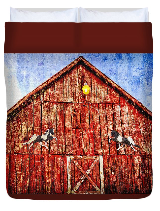 Horizons Duvet Cover featuring the photograph Red Barn by Diana Powell