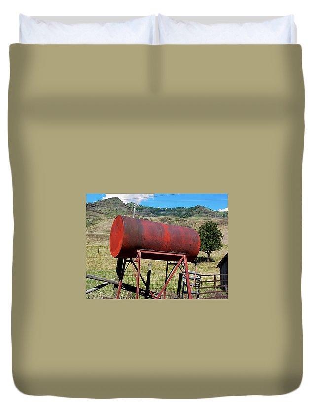 Farm Duvet Cover featuring the photograph Red Barrel by Sara Stevenson