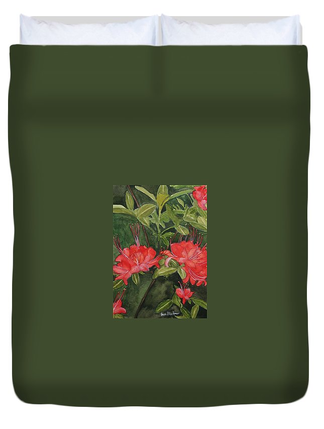 Flowers Duvet Cover featuring the painting Red Blooms On The Parkway by Jean Blackmer