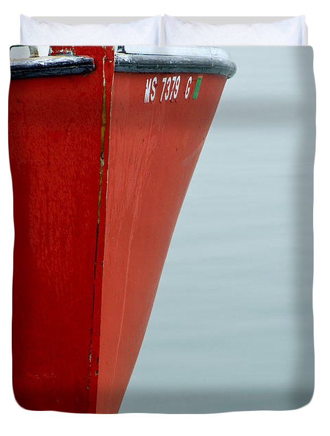 Red Duvet Cover featuring the photograph Red Boat by Charles Harden