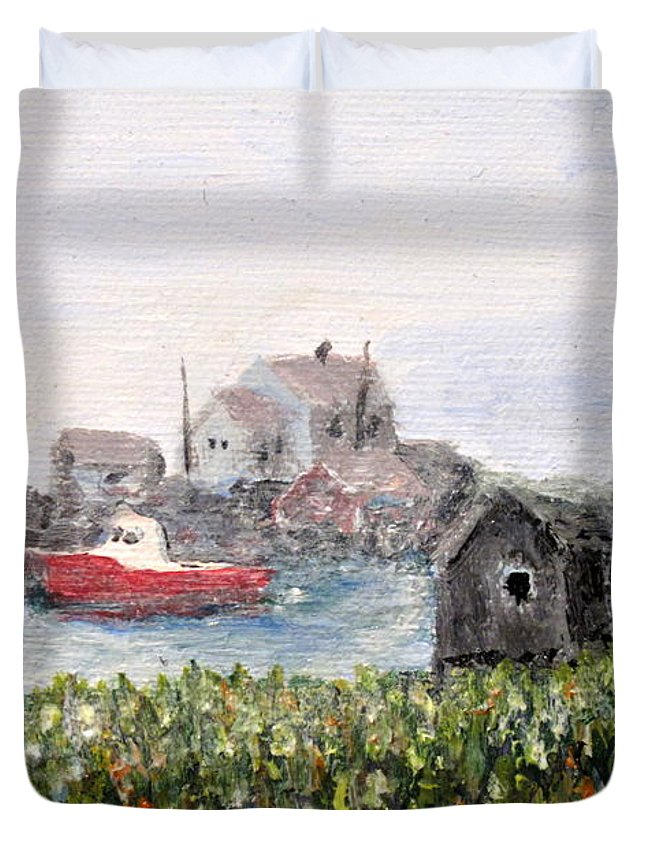 Red Boat Duvet Cover featuring the painting Red Boat In Peggys Cove Nova Scotia by Ian MacDonald