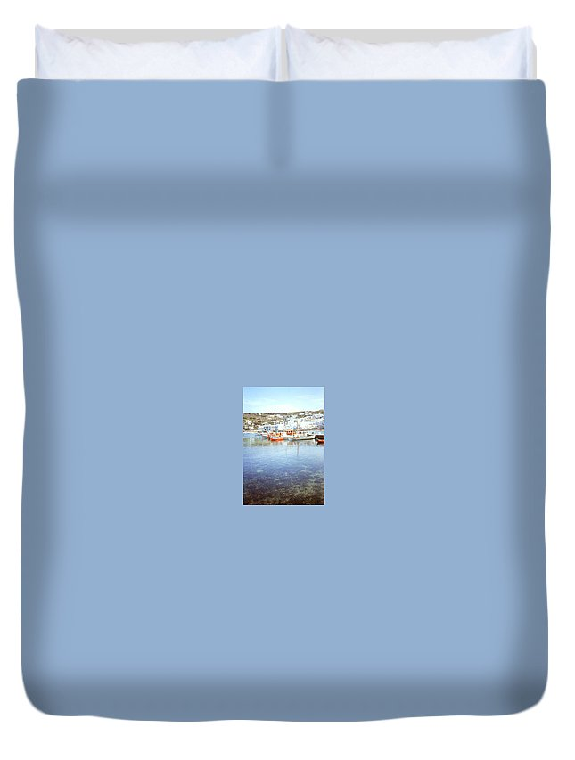 Greek Island Duvet Cover featuring the photograph Red Boat by Maro Kentros
