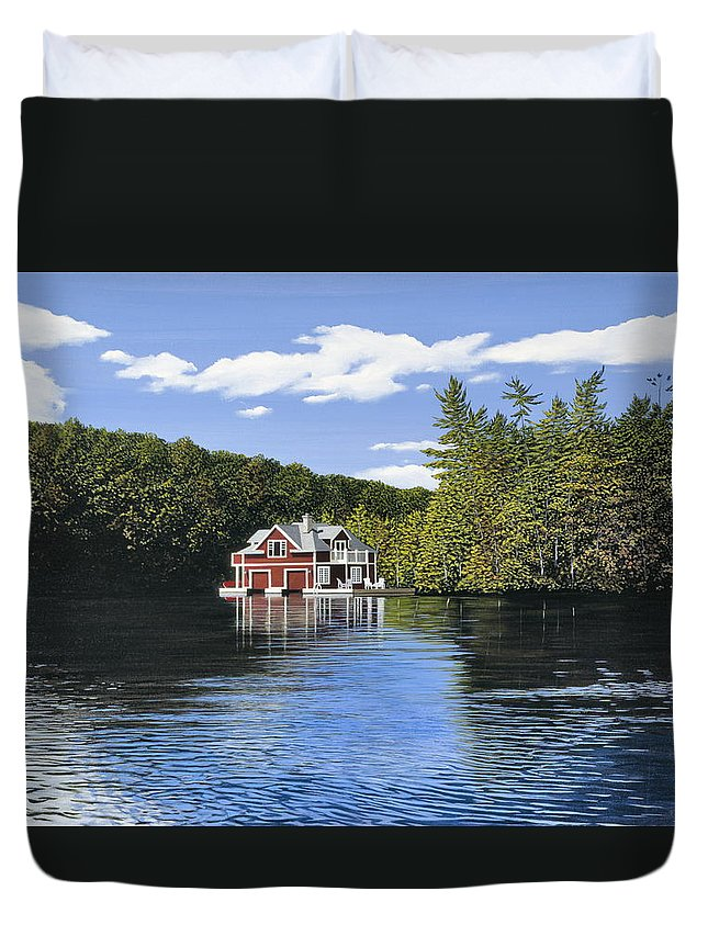 Landscapes Duvet Cover featuring the painting Red Boathouse by Kenneth M Kirsch