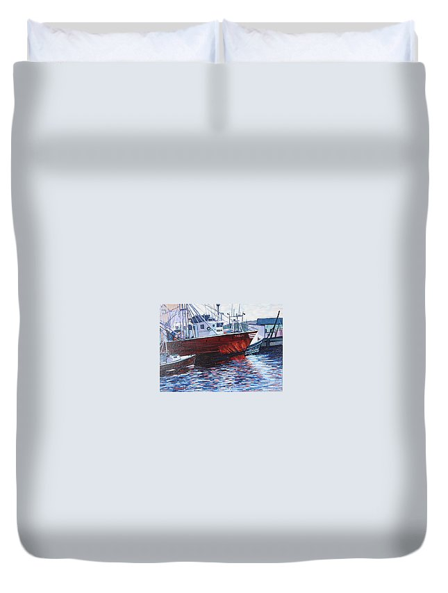 Boats Duvet Cover featuring the painting Red Boats by Richard Nowak