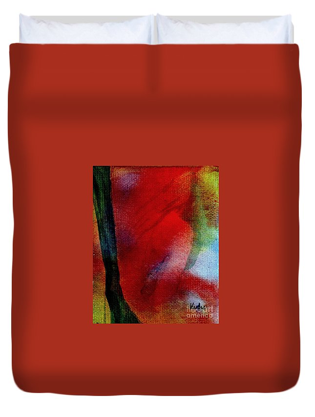 Nude Duvet Cover featuring the painting Red Boudoir by Susan Kubes