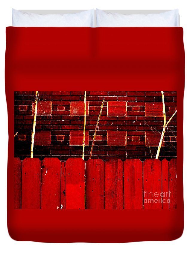 Red Bricks Duvet Cover featuring the photograph Red Brick And Sticks by Martin Brockhaus