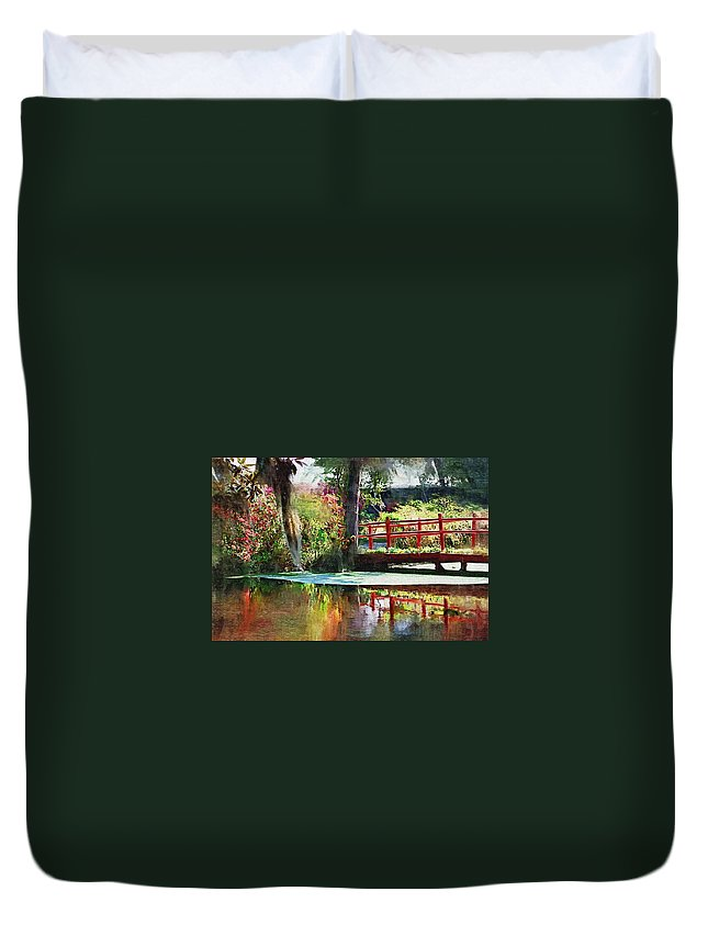 Red Bridge Duvet Cover featuring the photograph Red Bridge by Donna Bentley