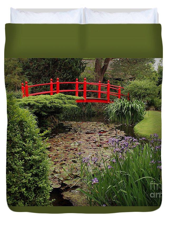 Garden Duvet Cover featuring the photograph Red Bridge by PJ Boylan
