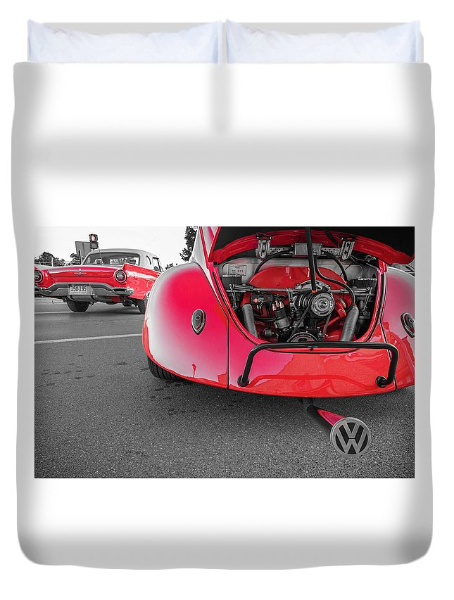 Auto Duvet Cover featuring the photograph Red Bug by Jim Love