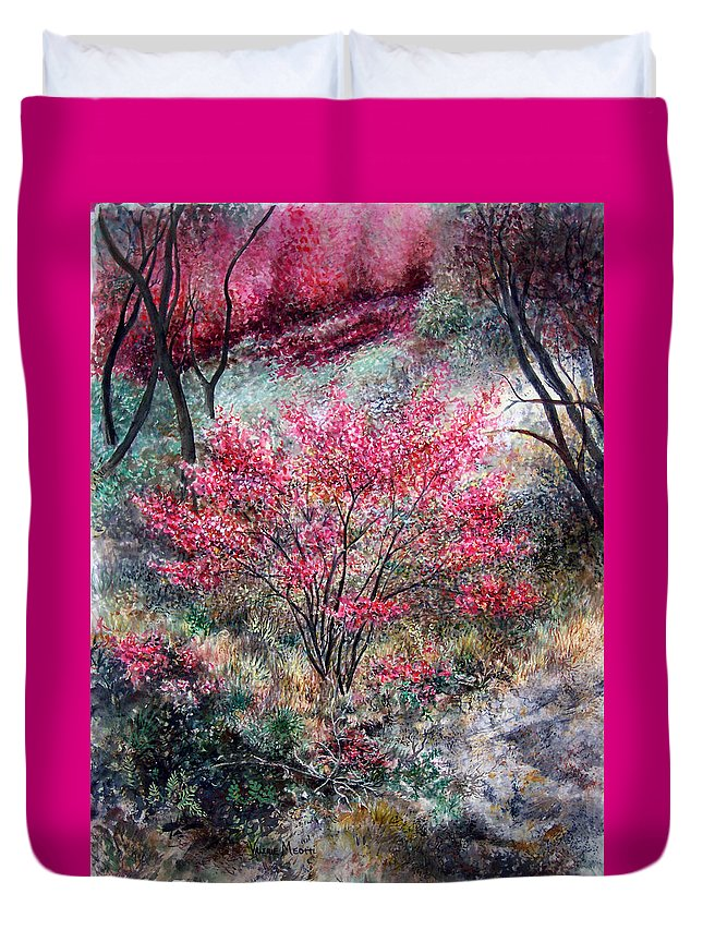Landscape Duvet Cover featuring the painting Red Bush by Valerie Meotti