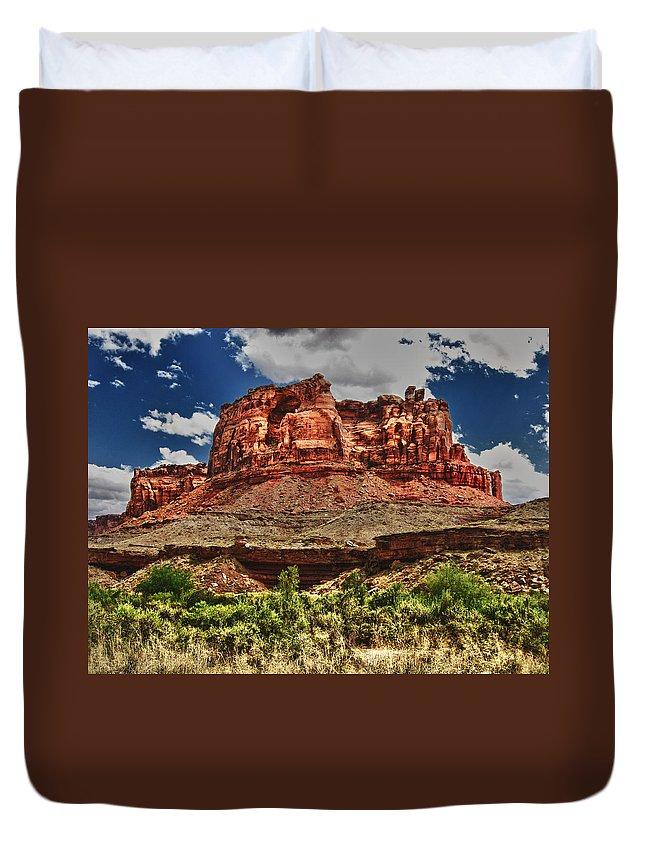 High Duvet Cover featuring the digital art Red Butte by Gary Baird