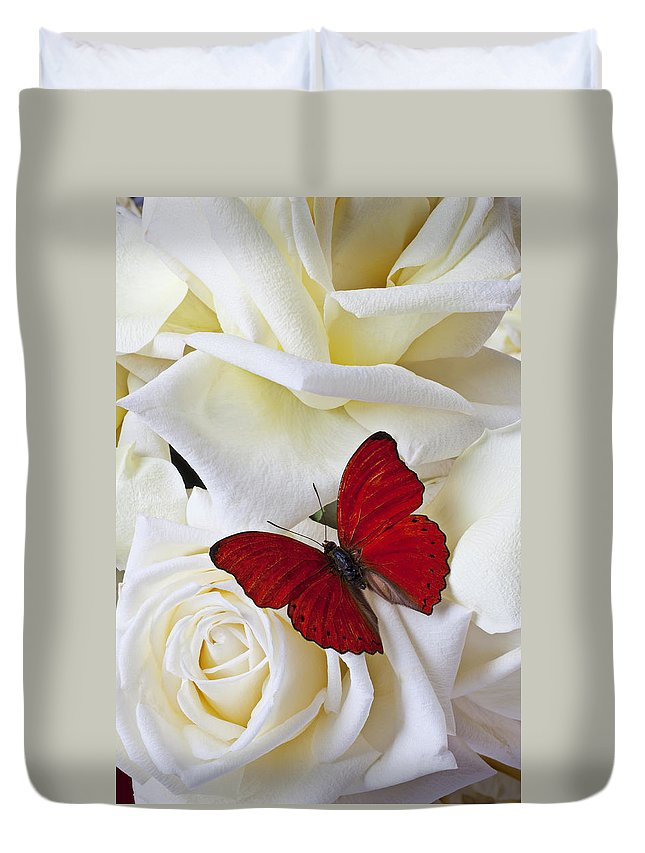 Red Duvet Cover featuring the photograph Red butterfly on white roses by Garry Gay