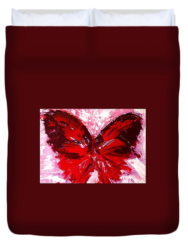 Red Duvet Cover featuring the painting Red Butterfly by Patricia Awapara