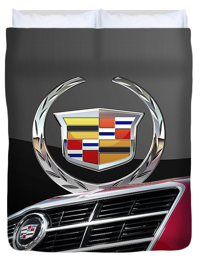 'auto Badges' By Serge Averbukh Duvet Cover featuring the photograph Red Cadillac C T S - Front Grill Ornament and 3D Badge on Black by Serge Averbukh
