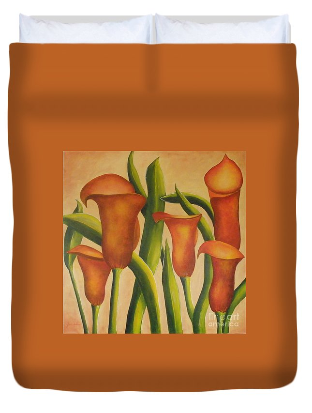 Calla Duvet Cover featuring the painting Red Callas by Jeanie Watson