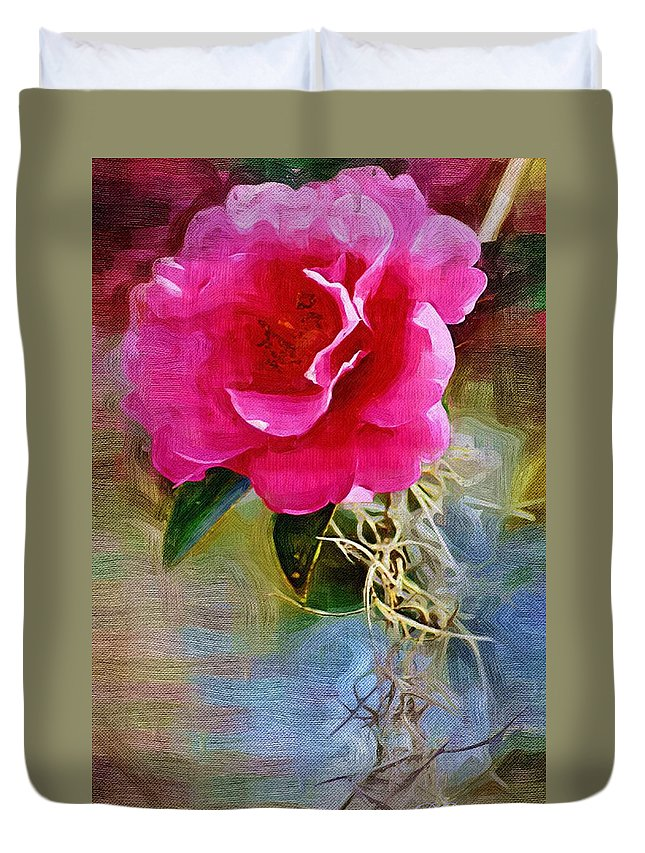Flowers Duvet Cover featuring the photograph Red Camellia by Donna Bentley
