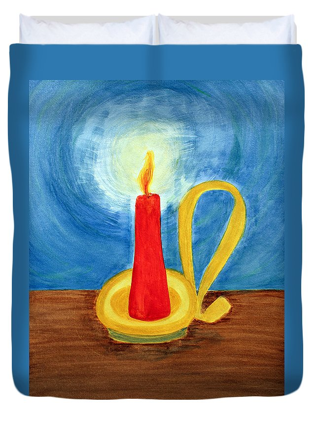 Art Duvet Cover featuring the painting Red Candle Lighting Up The Dark Blue Night. by Lee Serenethos