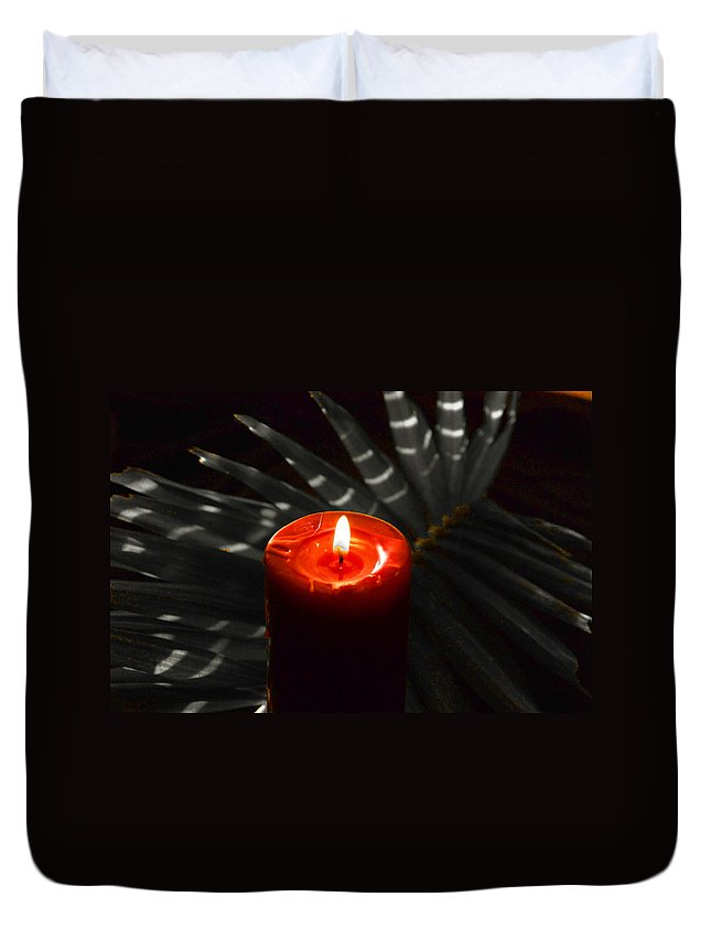 Red Candle Duvet Cover featuring the photograph Red Candle by Susanne Van Hulst