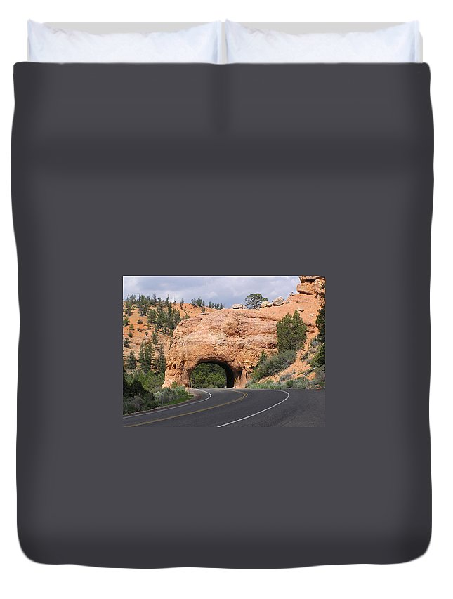Tunnel Duvet Cover featuring the photograph Red Canyon Tunnel by Louise Magno