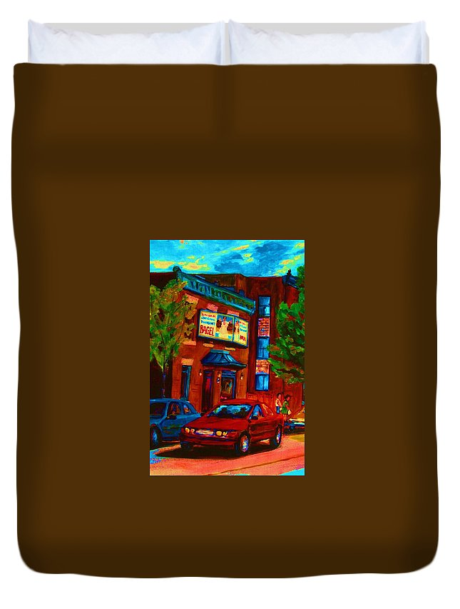 Fairmount Bagel Duvet Cover featuring the painting Red Car Blue Sky by Carole Spandau