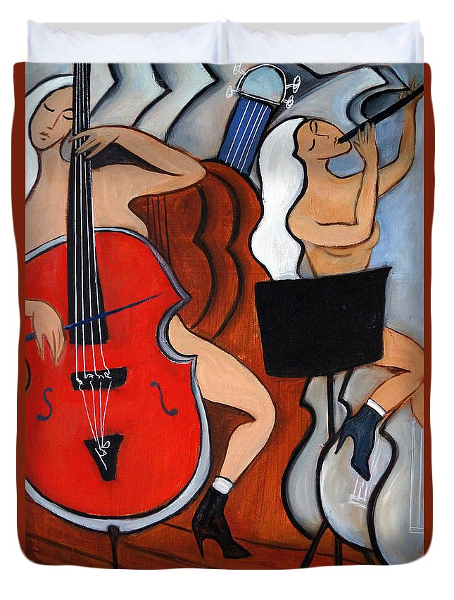 Cubic Abstract Duvet Cover featuring the painting Red Cello 2 by Valerie Vescovi