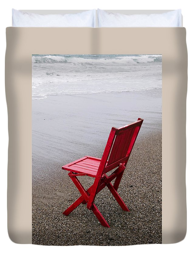 Red Duvet Cover featuring the photograph Red Chair On The Beach by Garry Gay
