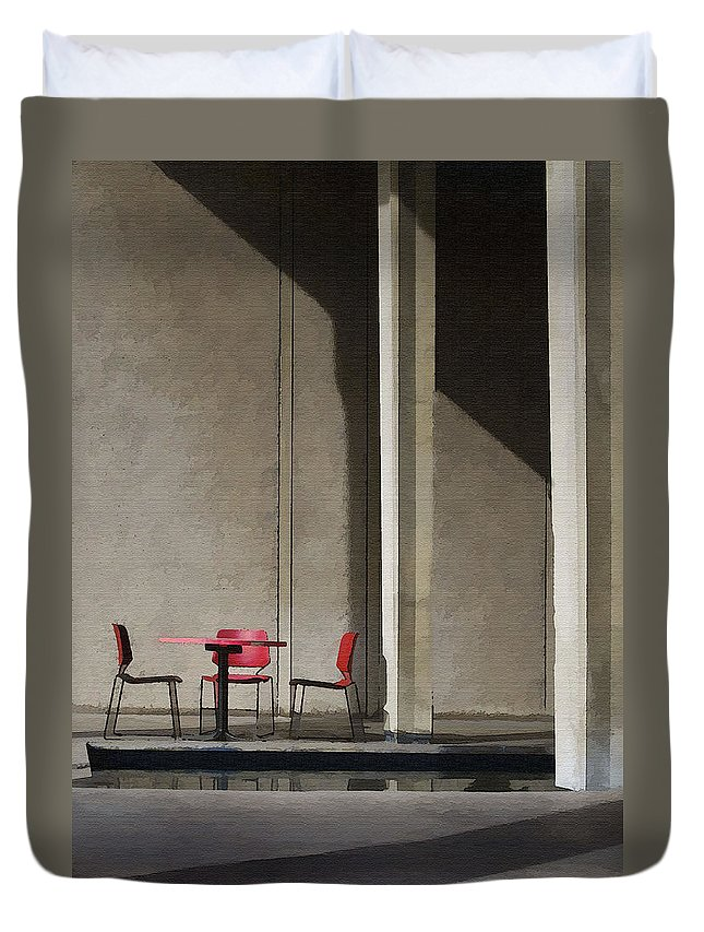 Architecture Duvet Cover featuring the photograph Red Chairs by Sharon Foster