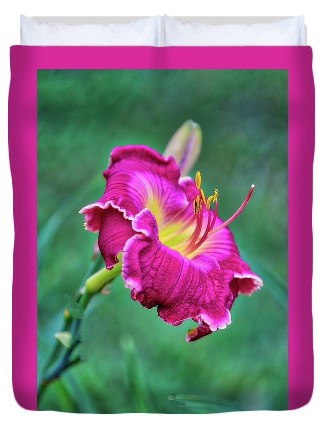 Flower Duvet Cover featuring the photograph Red by Ches Black