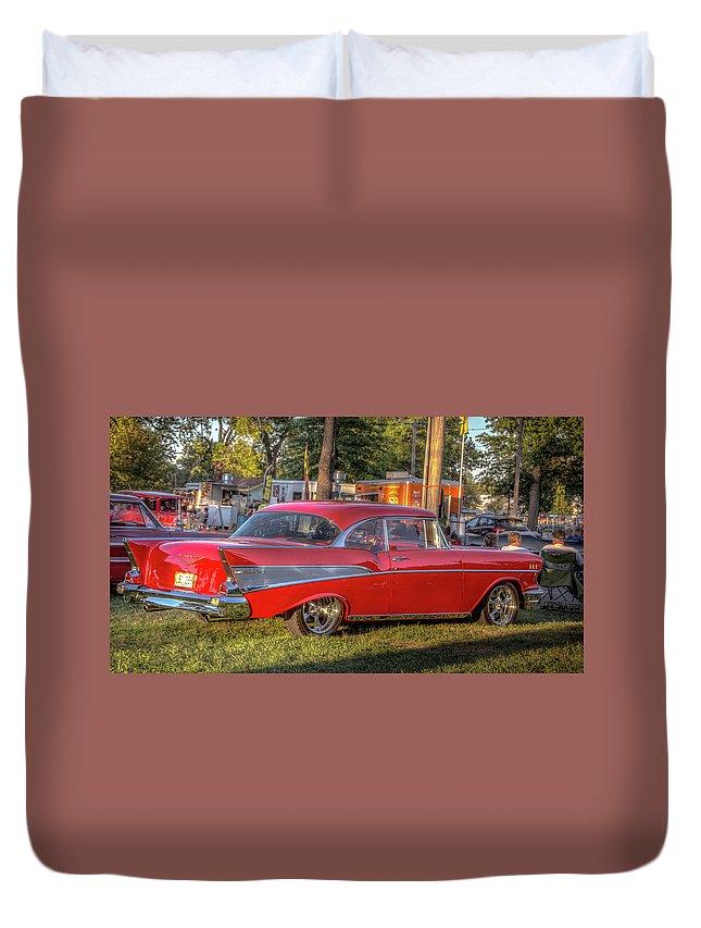 Autos Duvet Cover featuring the photograph Red Chevy by Jackie Eatinger