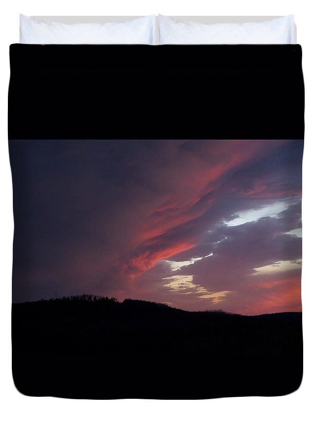 Red Clouds Duvet Cover featuring the photograph Red Clouds 2 by Toni Berry