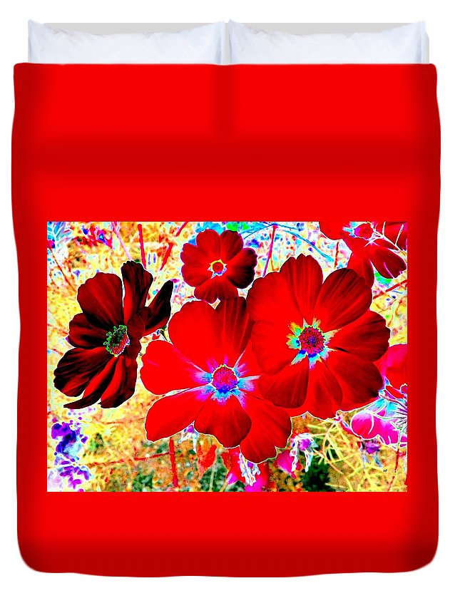 Red Cosmos Duvet Cover featuring the digital art Red Cosmos by Will Borden
