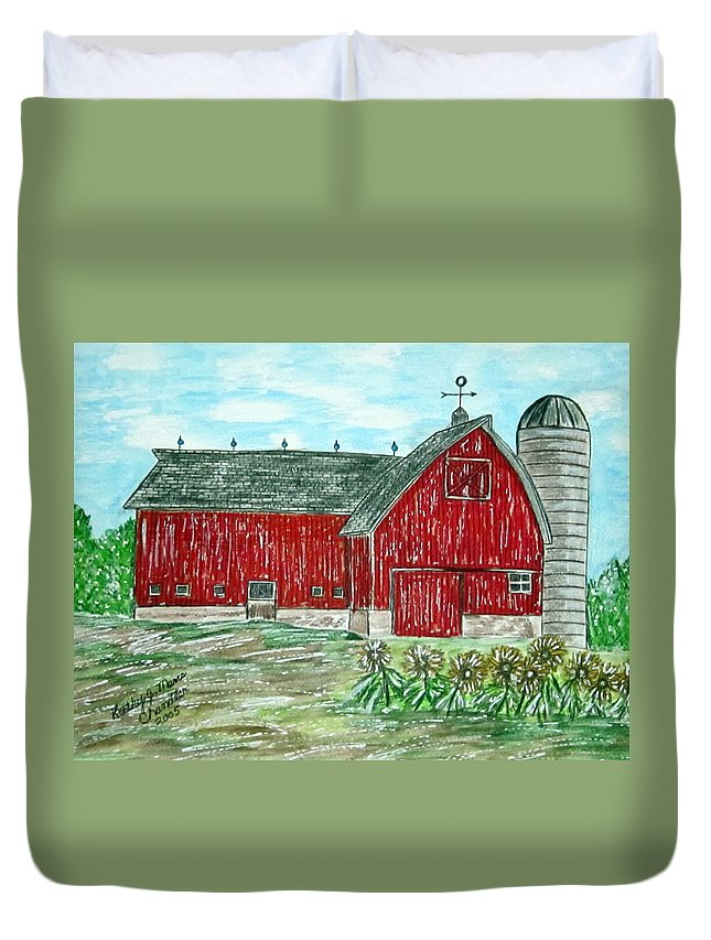 Red Duvet Cover featuring the painting Red Country Barn by Kathy Marrs Chandler